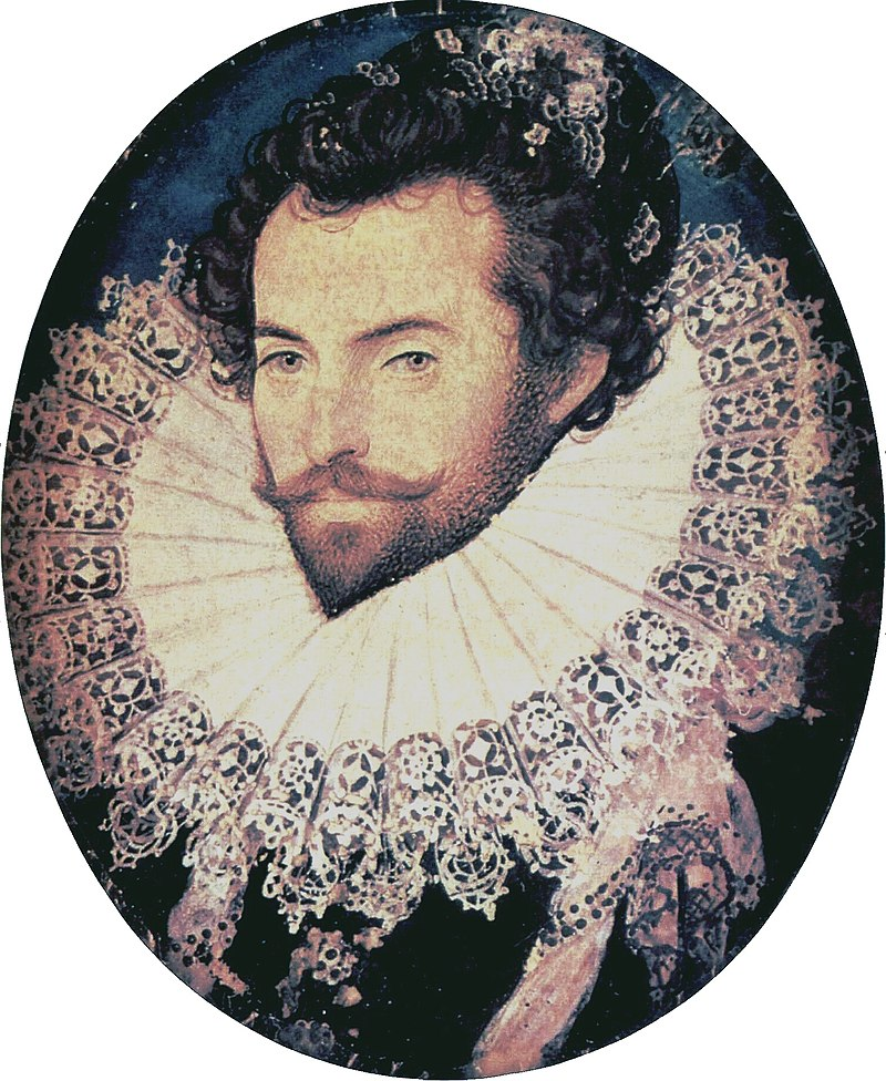 800px Sir Walter Raleigh oval portrait by Nicholas Hilliard