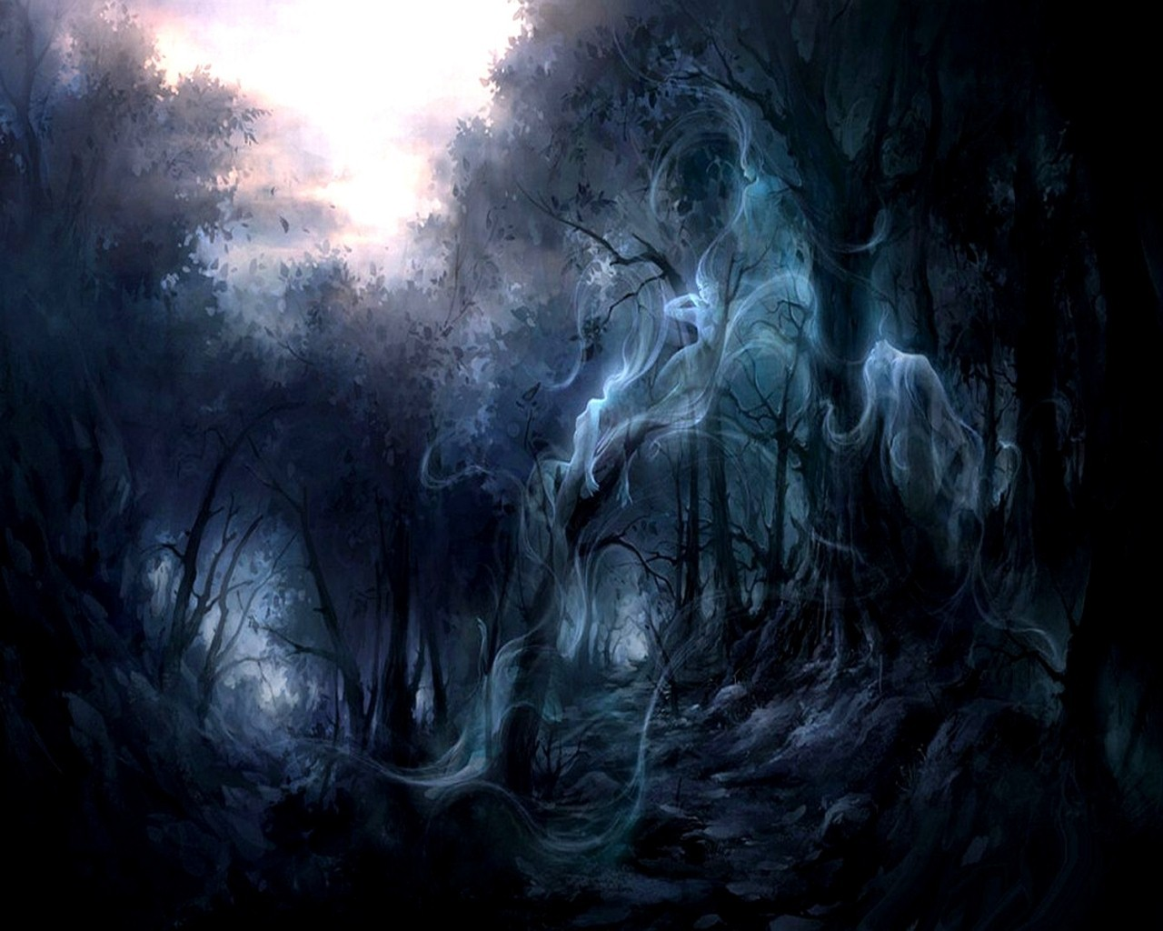 ghost in the forest trees smokes dark hd wallpaper 1393459